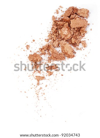 golden eyeshadow isolated on white - stock photo
