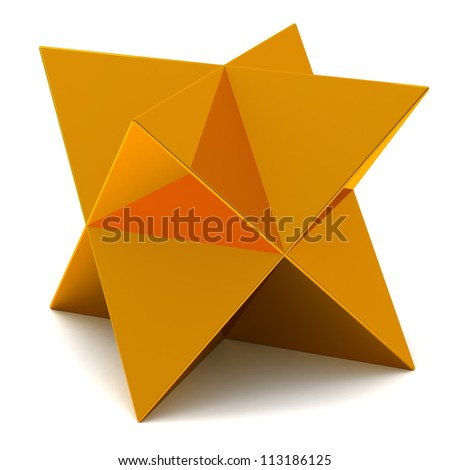 Golden faceted star 3d - stock photo