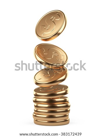 golden falling coins in pile isolated on white background. Business concept - stock photo