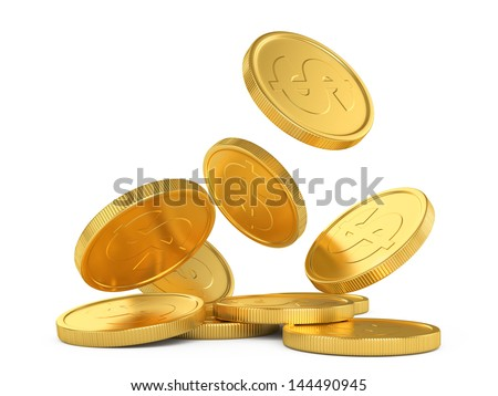 golden falling coins isolated on white background - stock photo