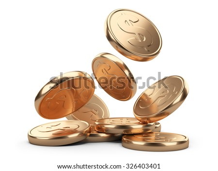 golden falling coins isolated on white background. Business concept - stock photo