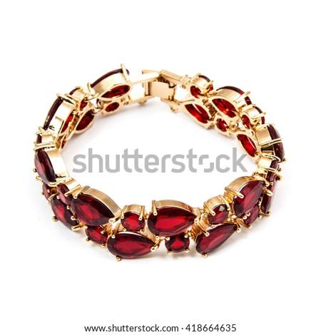 Golden Fashion Bracelet with ruby isolated on white - stock photo