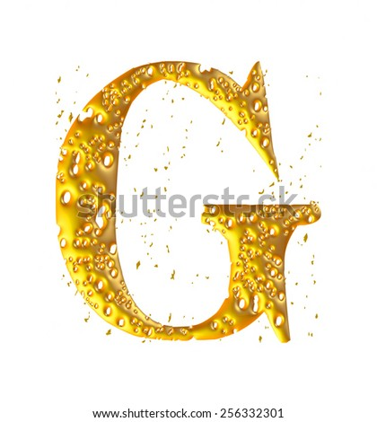 golden figure made in 3D - G - stock photo
