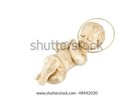 golden figure of baby jesus isolated on white background - stock photo