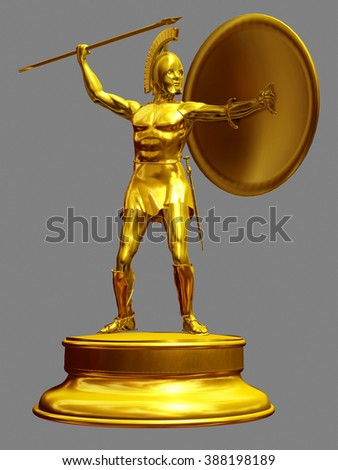 golden figurine of a greek hoplite - stock photo