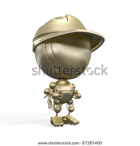 Golden figurine of robot - rock climber in helmet & with fuses