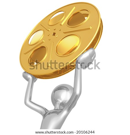Golden Film Reel - stock photo