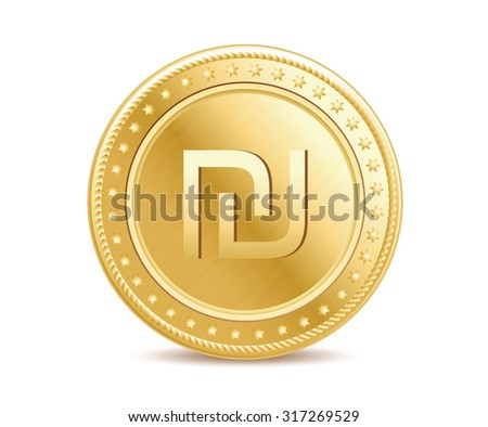 Golden finance isolated israeli shekel coin on the white background - stock photo