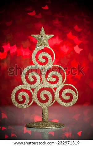 Golden fir-tree with christmas lights  - stock photo