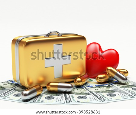 Golden first aid kit, red heart and pills on dollar bills isolated on white background