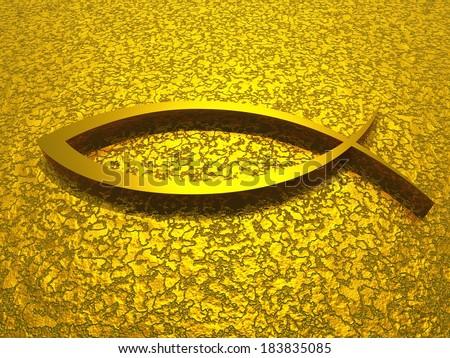 Golden fish sign for awakening - stock photo