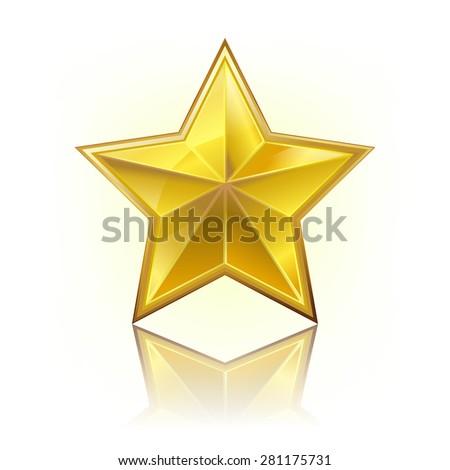 golden five corner star on white - stock photo