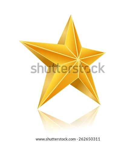 golden five corner star on white background. raster version - stock photo