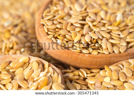golden flax seed or linseed - stock photo