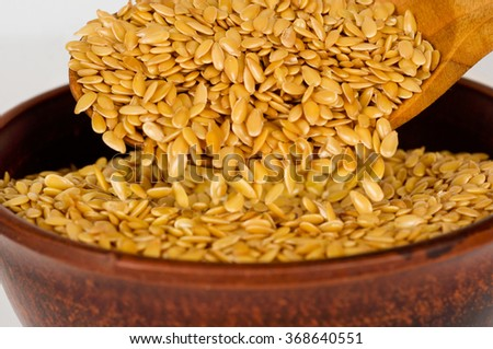 Golden flax seed. Super food. - stock photo