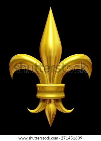 golden fleur de lis, lily, gladiolus, symbol of the french monarchy - stock photo