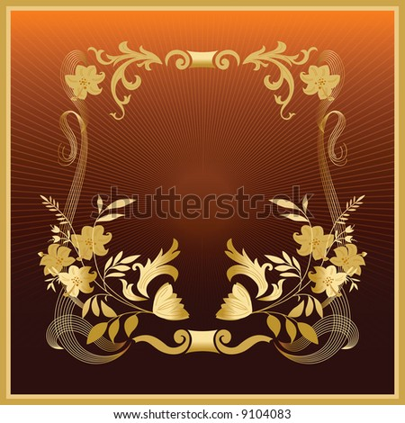 Golden floral frame. Vector illustration.