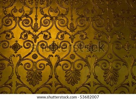 Golden floral ornament - stock photo