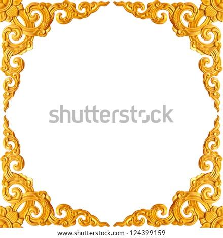 golden flower carve frame isolated on white background - stock photo