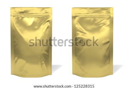 Golden foil bag package isolated on white background - stock photo