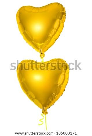 Golden foil balloons isolated on white  - stock photo