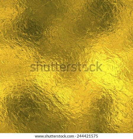 Golden Foil luxury seamless and tileable background texture. Glittering holiday wrinkled gold background and shiny bright metal surface backdrop. - stock photo