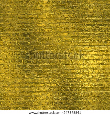 Golden Foil Seamless and Tileable Luxury background texture. Glittering holiday wrinkled gold background and shiny bright metal surface backdrop.  - stock photo