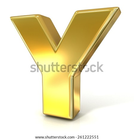 Golden font collection letter - Y. 3D render illustration, isolated on white background.