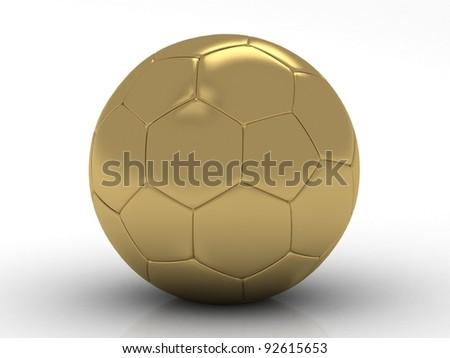 golden football (soccer ball) on the white background 3d illustration - stock photo