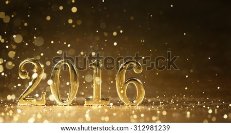 Golden 2016 for new year holidays - stock photo