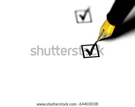 Golden fountain pen, checking success, on white background, using very shallow depth of field. - stock photo