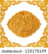 golden frame and dragon carve isolated - stock photo