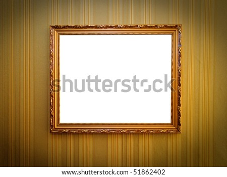 golden frame for a picture on the wall - stock photo