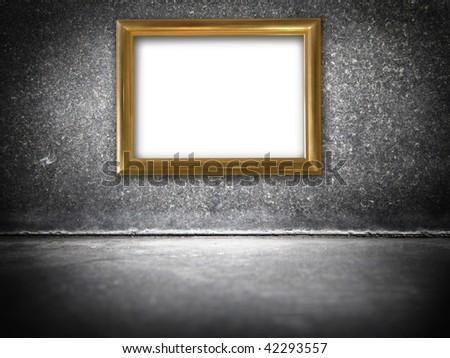 Golden frame in a black stone interior - stock photo