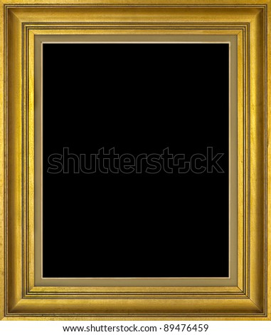 Golden frame isolated on black - stock photo