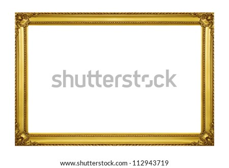 Golden frame isolated on white background - stock photo