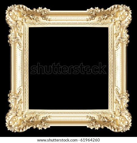 Golden frame isolated on white, closed-up - stock photo