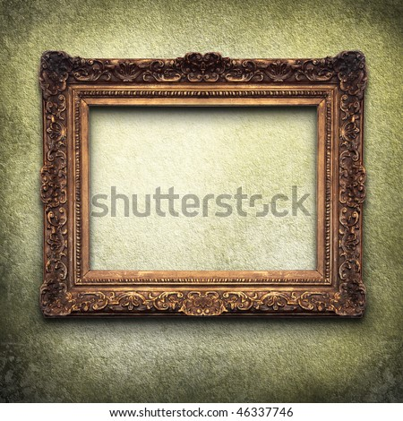 golden frame on grunge background - stock photo