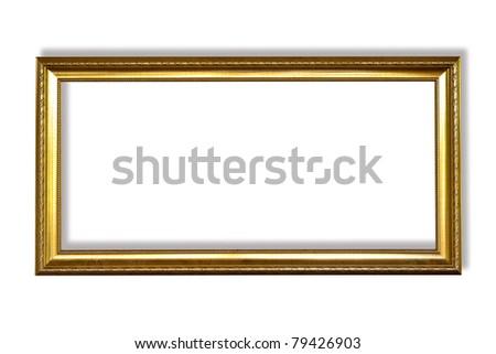 Golden frame on white background - stock photo