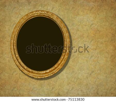 Golden frame over vintage  wallpaper - stock photo