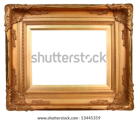 Golden Frame Ready For Your Insertion. - stock photo