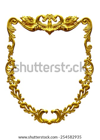 golden frame with baroque ornaments - stock photo