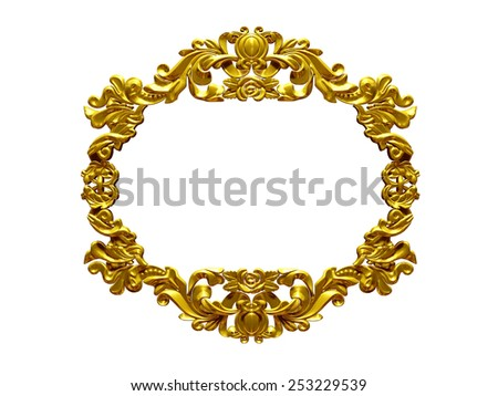 golden frame with baroque ornaments for pictures or mirror