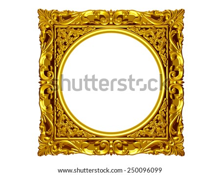 golden frame with baroque ornaments in gold - stock photo