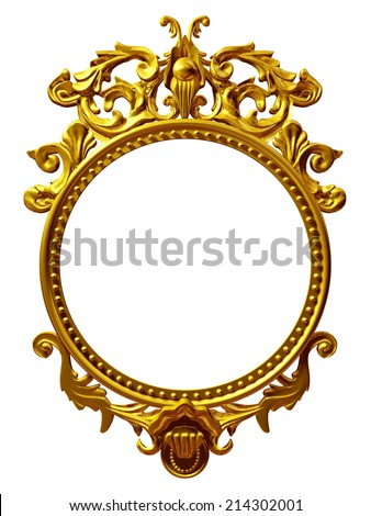 golden frame with baroque ornaments in gold for pictures or mirror