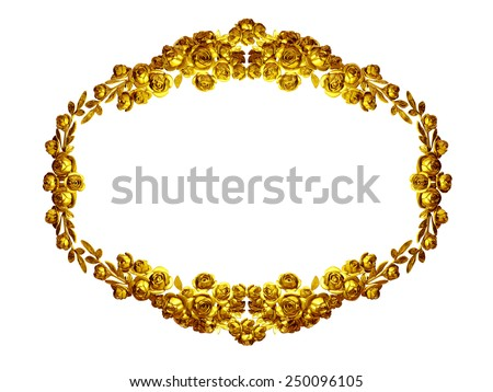 golden frame with baroque ornaments. Roses in gold - stock photo