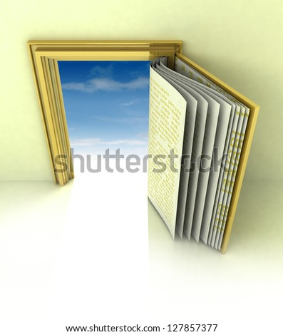 golden frame with door as open book illustration