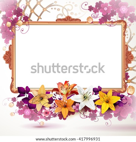 Golden frame with flowers - stock photo