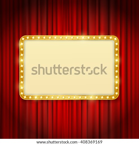 golden frame with light bulbs on red curtains background. raster