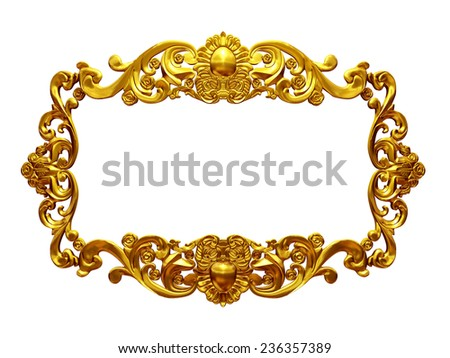 golden frame with organic ornaments in gold for pictures or mirror
